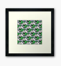 Horned Warrior Friends pattern (unicorn, narwhal, triceratops, rhino) Framed Print