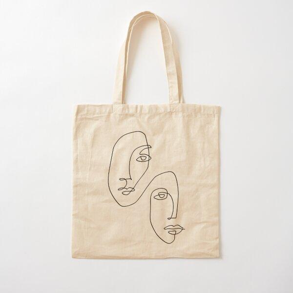 Gesichter - Strichzeichnungen Baumwolltasche