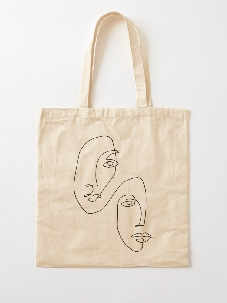 Alternate view of Faces - Line Art Tote Bag