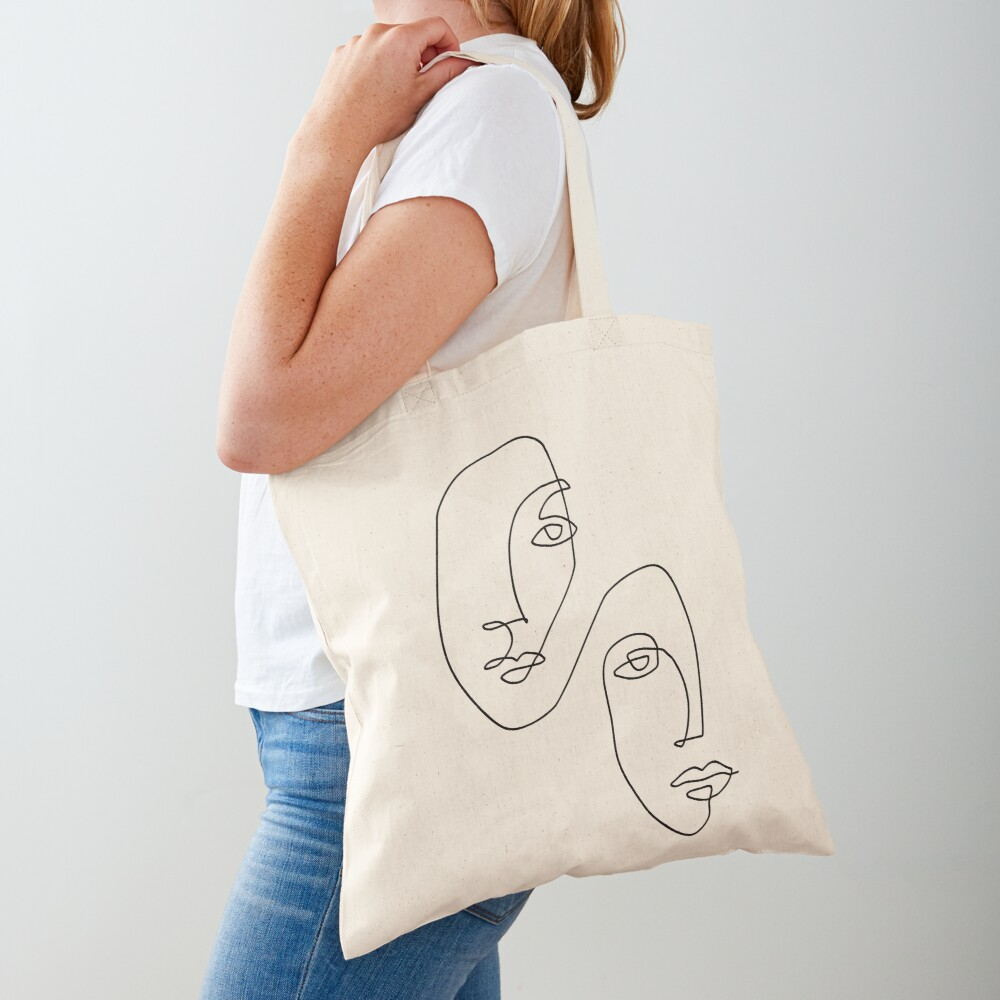 Faces - Line Art Tote Bag