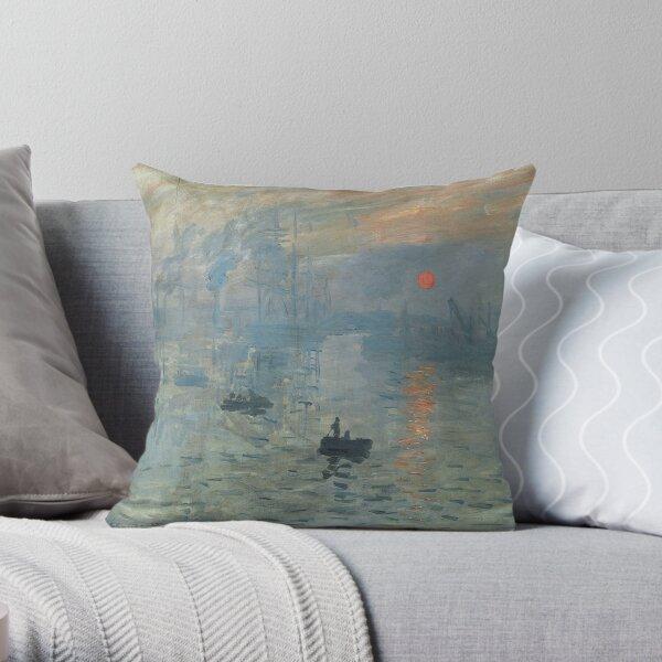 Monet Impression Sunrise Fine Art Throw Pillow