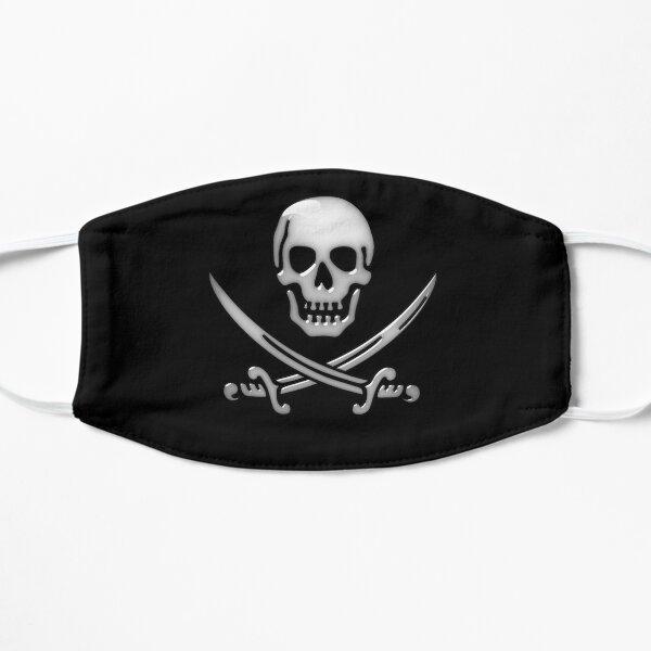 Crâne de pirate vitreux et os croisés d'épée Masque sans plis