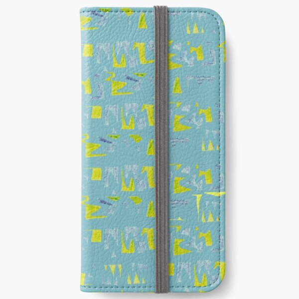 Primitive symbols turquoise and yellow iPhone Wallet