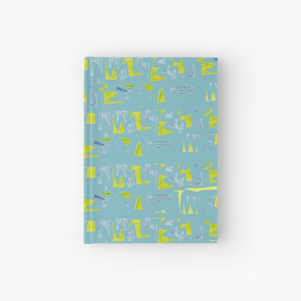 Primitive symbols turquoise and yellow Hardcover Journal