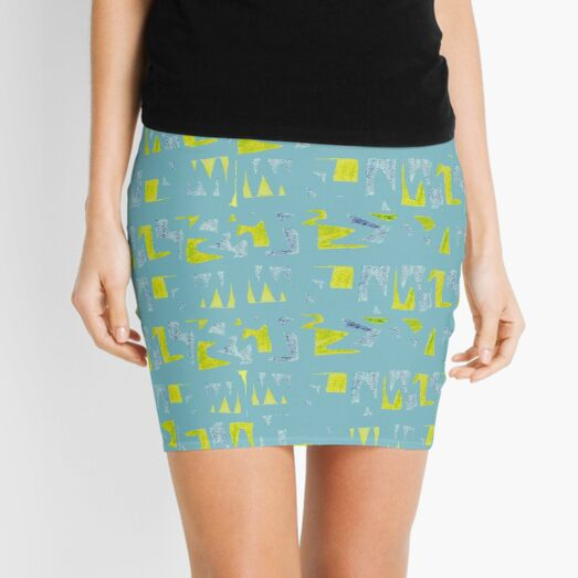 Primitive symbols turquoise and yellow Mini Skirt