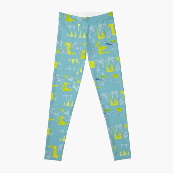 Primitive symbols turquoise and yellow Leggings