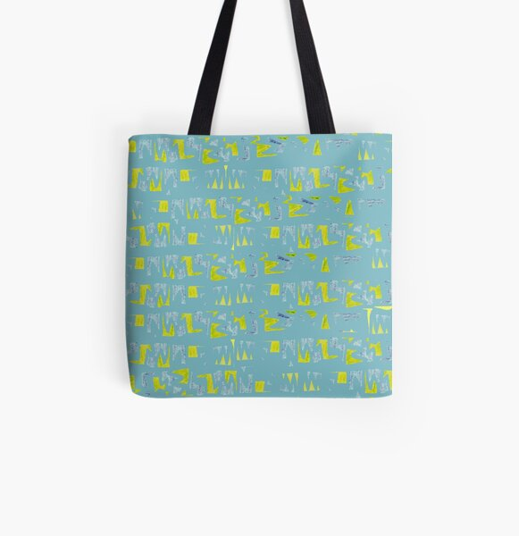 Primitive symbols turquoise and yellow All Over Print Tote Bag