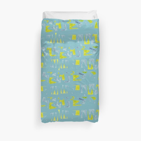 Primitive symbols turquoise and yellow Duvet Cover