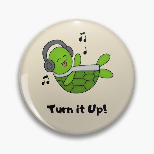 Musical Green Turtle Pin