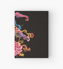 Floral colorful mirror ornamenton blach background Hardcover Journal