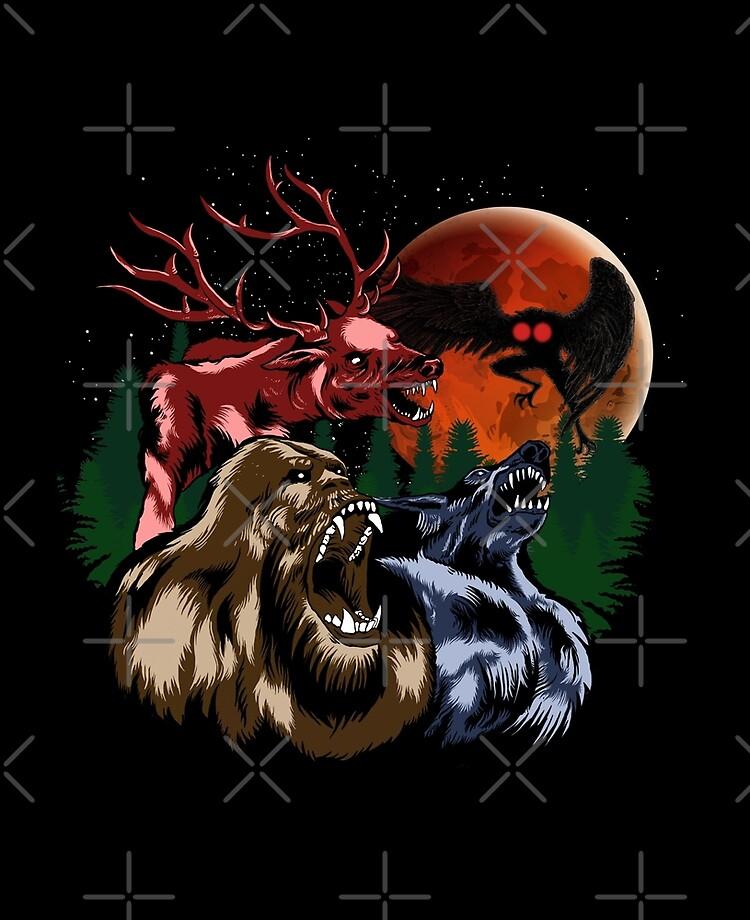 Three Cryptid Moon Bigfoot Sasquatch Mothman Dogman Wendigo Cryptid Gift Ipad Case Skin By Natintrovertsoc Redbubble