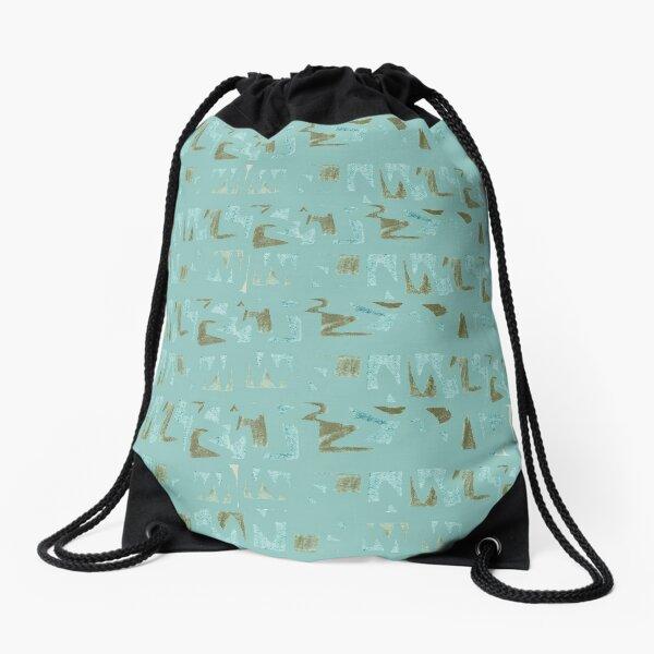 Primitive symbols turquoise and brown Drawstring Bag