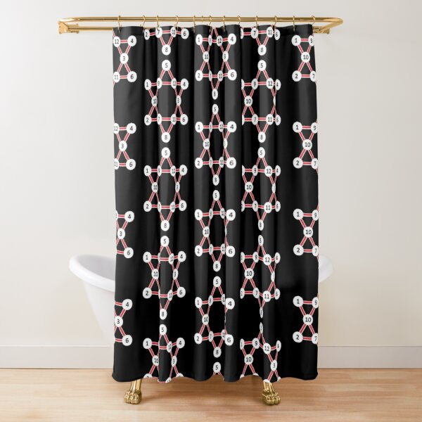 Super Magic Star Red with Numbers Shower Curtain