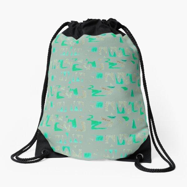 Primitive symbols grey and green Drawstring Bag