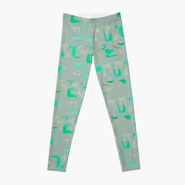Primitive symbols grey and green Leggings