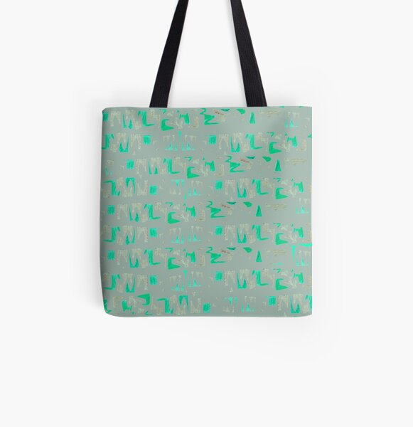 Primitive symbols grey and green All Over Print Tote Bag