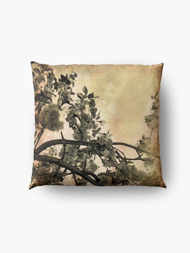 Alternate view of Brushed Cherry Blossoms - Flower Lovers Gift Floor Pillow