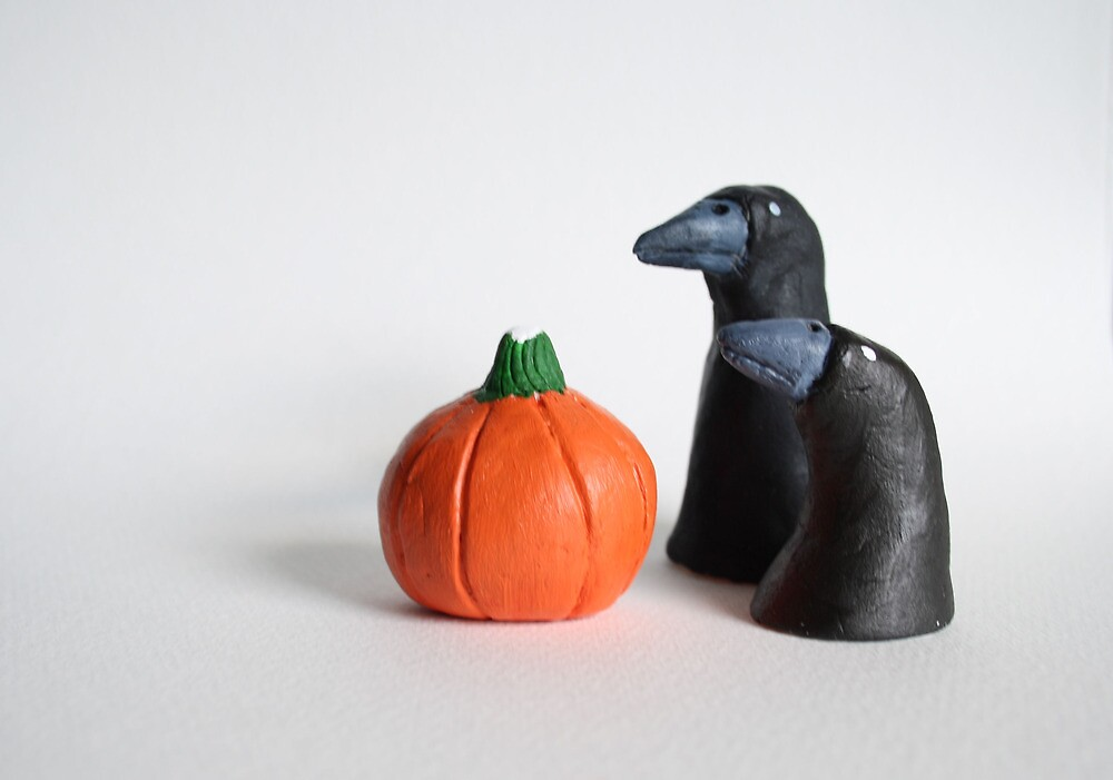 Two black crows and a pumpkin by Sielukka
