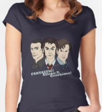 New Who Doctors: FANTASTIC! Allons-Y, Geronimo! Women's Fitted Scoop T-Shirt