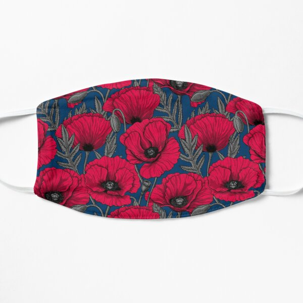 Night poppy garden Flat Mask