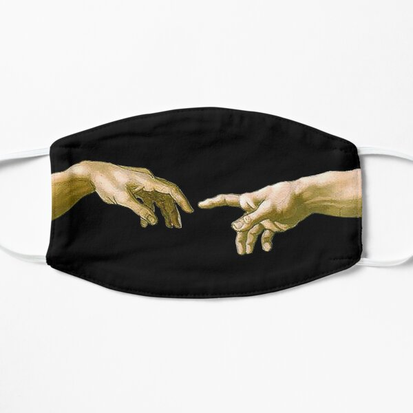 Touch of God, The Creation of Adam, (close up), Michelangelo, 1510, Genesis, Ceiling, Sistine Chapel, Rome, on BLACK. Flat Mask