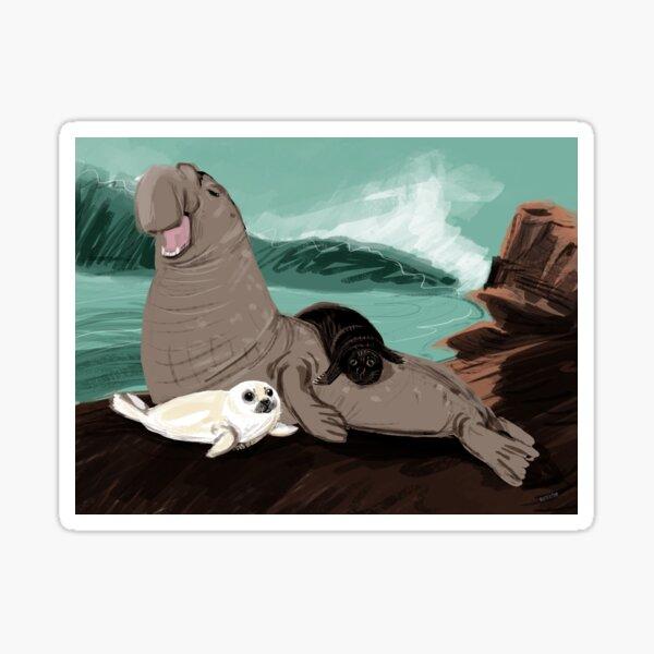 Elefante marino con una foca blanca Pegatina