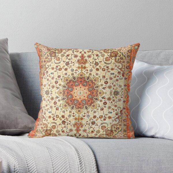 Orange Traditional Oriental Moroccan Artwork Carpet Style. Throw Pillow