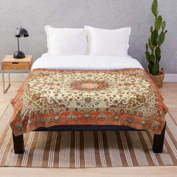 Orange Traditional Oriental Moroccan Artwork Carpet Style. Throw Blanket