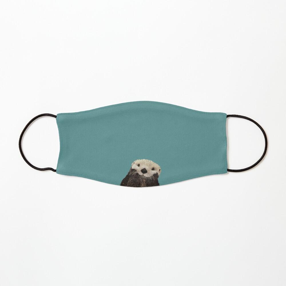 Cute Sea Otter on Teal Solid. Minimalist. Coastal. Adorable. Mask