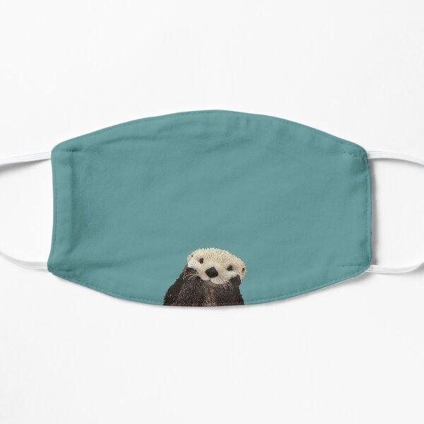 Cute Sea Otter on Teal Solid. Minimalist. Coastal. Adorable. Flat Mask