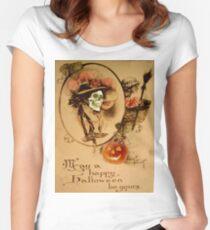 Happy Halloween (Vintage Halloween Card) Women's Fitted Scoop T-Shirt