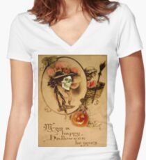 Happy Halloween (Vintage Halloween Card) Women's Fitted V-Neck T-Shirt