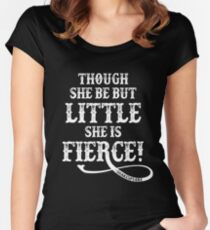 Shakespeare Quote Typography - Though She Be ... Women's Fitted Scoop T-Shirt