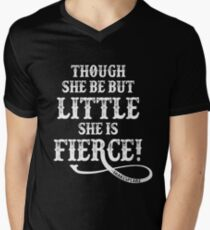Shakespeare Quote Typography - Though She Be ... Men's V-Neck T-Shirt