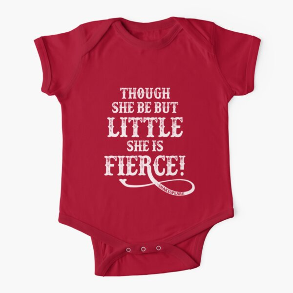 Shakespeare Quote Typography - Though She Be ... Short Sleeve Baby One-Piece