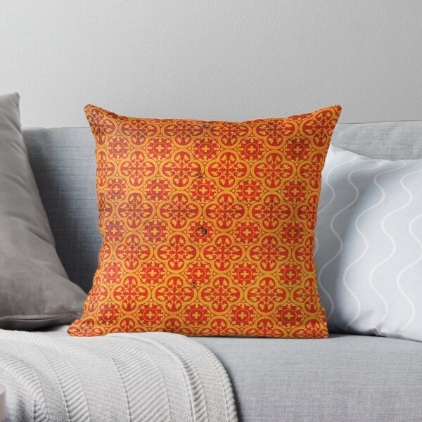 Orange Traditional Oriental Moroccan Style Pattern Throw Pillow