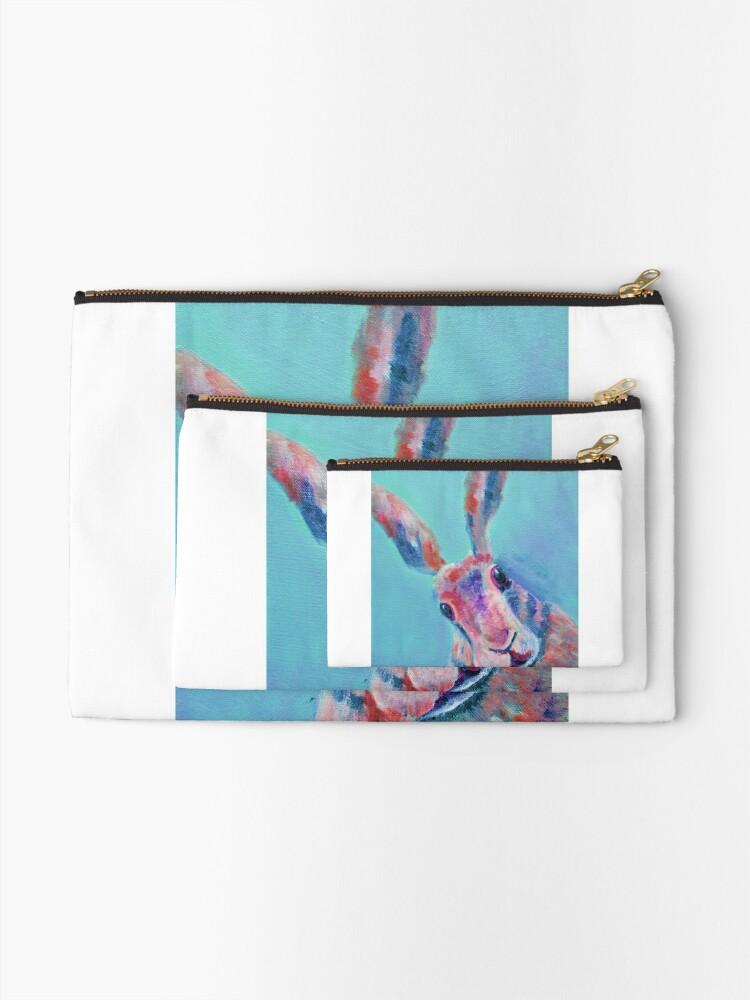 Alternate view of Cute Light Blue Hare  Zipper Pouch