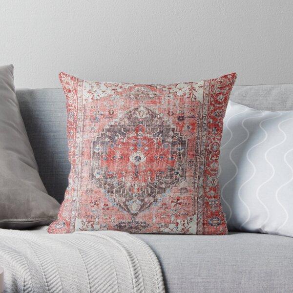 Red Vintage Oriental Moroccan Style Artwork Throw Pillow