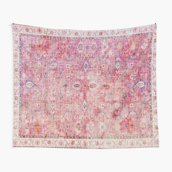 Antique Traditional Pink Oriental Moroccan Style  Tapestry