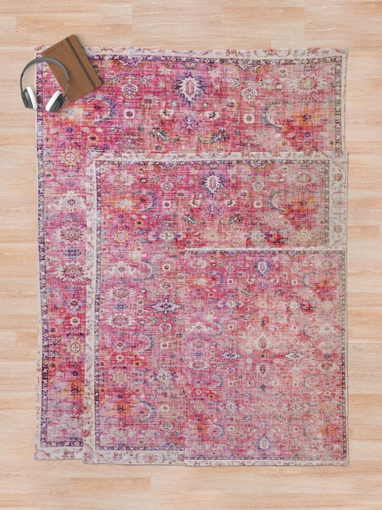 Alternate view of Antique Traditional Pink Oriental Moroccan Style  Throw Blanket