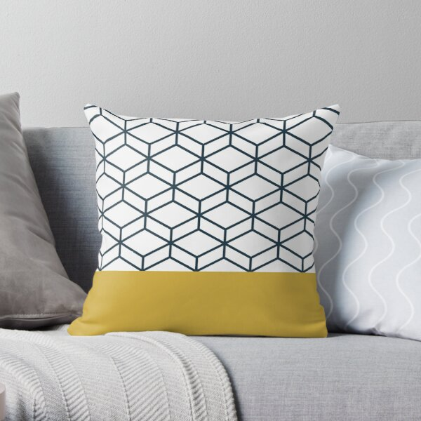 Honeycomb Geometric Lattice 2 in Mustard Yellow, Navy Blue, and White Throw Pillow