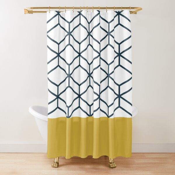 Honeycomb Geometric Lattice 2 in Mustard Yellow, Navy Blue, and White Shower Curtain