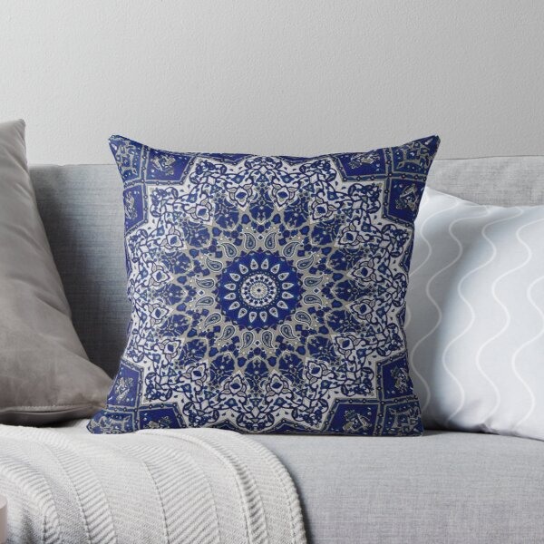 Andalusia Blue Alhambra Traditional Moroccan Artwork  Throw Pillow