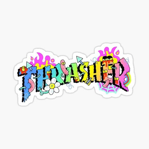 Logotipo colorido de Trasher Pegatina