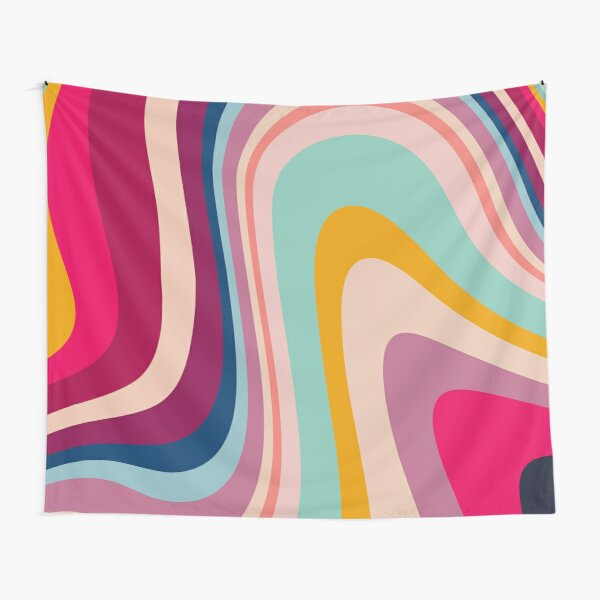 Retro Colorful Trippy Abstract Tapestry