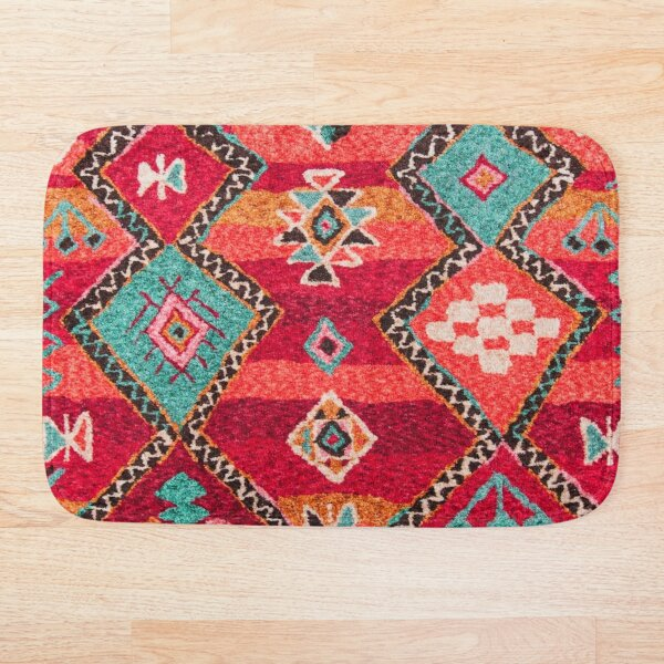 Traditional Colored Anthropologie Bohemian Moroccan ARTWORK Bath Mat