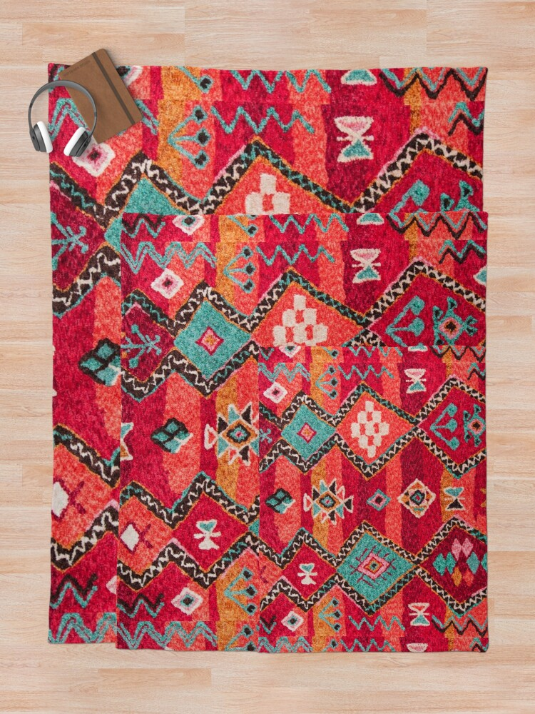 Alternate view of Traditional Colored Anthropologie Bohemian Moroccan ARTWORK Throw Blanket