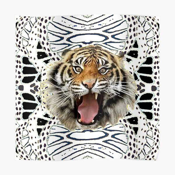 WHITE TIGER ABSTRACT ART Poster