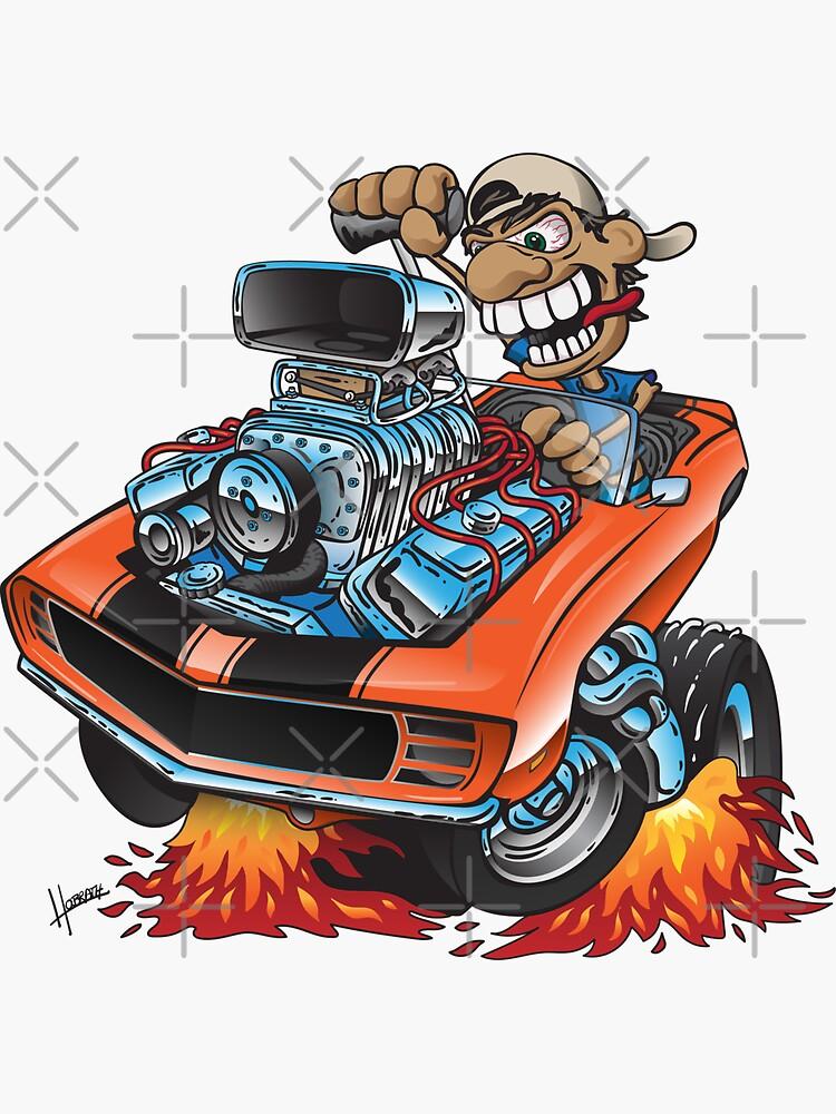 Classic 69 Muscle Car Cartoon by hobrath