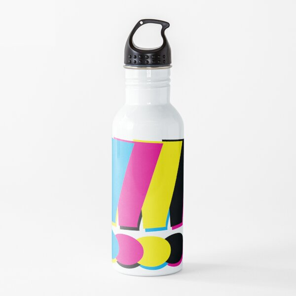 Signos de exclamación CMYK Botella de agua